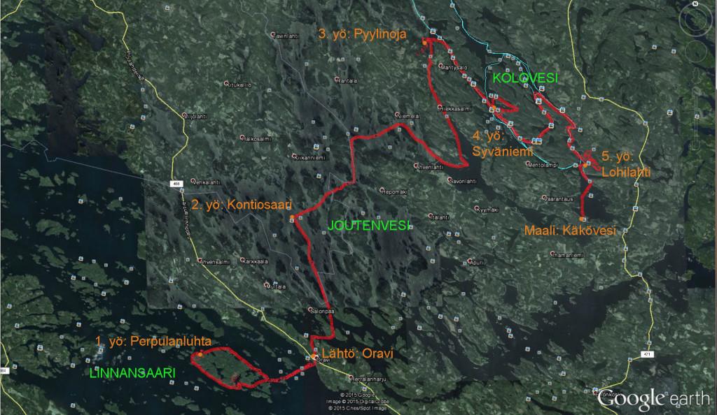 Kuljettu reitti Google Earthissa punaisella. Tässä mukana myös iltapatikoinnit.