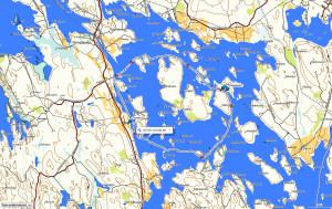 Sunnuntain melontaretken reitti Hankavedellä. Taustakartta Maanmittauslaitos.