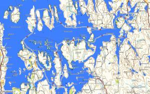 Lauantain melontaretken reitti Etelä-Konneveden kansallispuistossa. Taustakartta Maanmittauslaitos