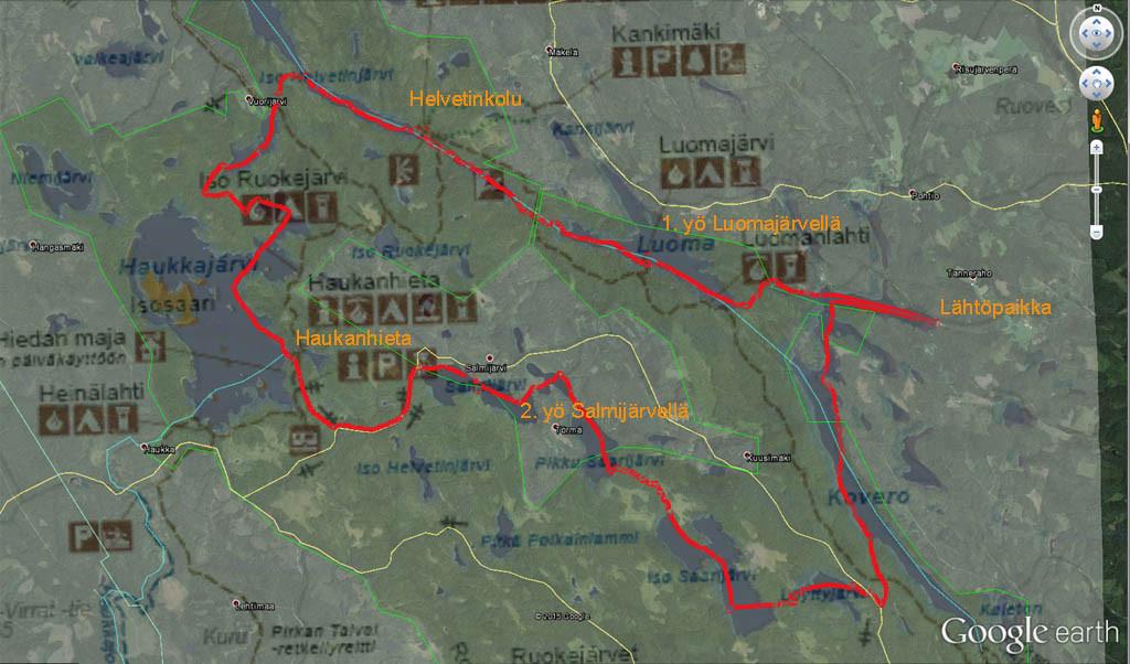 Reitti Google Earthin satelliittikuvan ja Metsähallituksen kartta-aineiston päälle punaisella merkittynä.