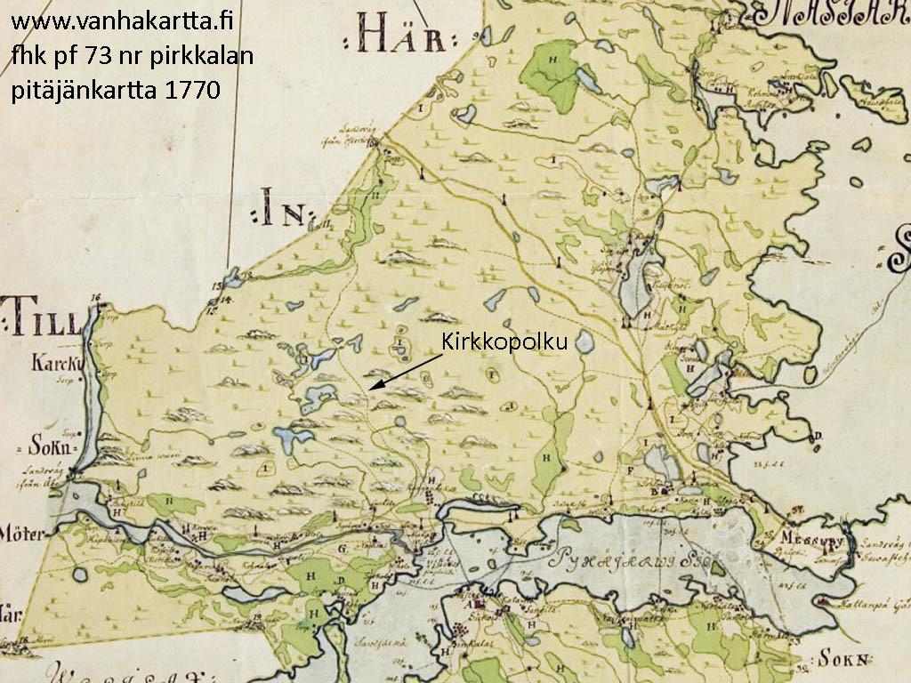 Ote Pirkkalan 1770 pitäjänkartasta. Kirkkopolku näkyy koko matkaltaan, Nokian kirkolta Ylä-Pinsiöön asti. Lähde: vanhakartta.fi