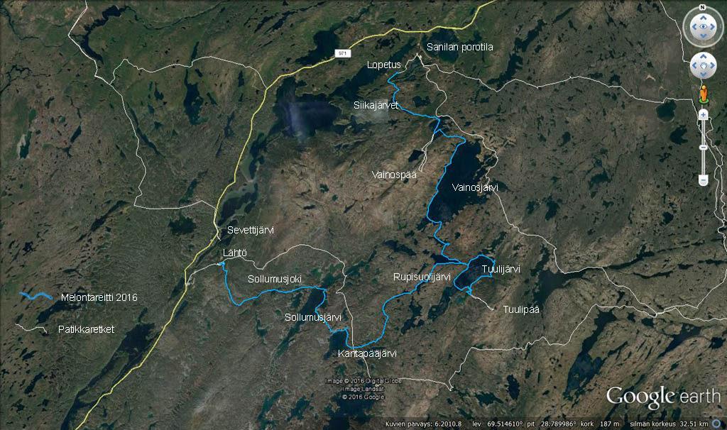 Reittikartta Google Earthissa. Mukana aikaisemmat patikkareissut.